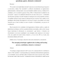 Tecnologías emergentes aplicadas en el proceso de enseñanza y aprendizaje ¿aporte, obstáculo o resistencia?