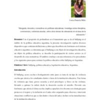 El Bullying y la Política Educativa Argentina